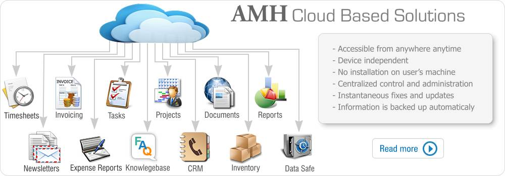 AMH Cloud based Solutions: timesheets,POS,Project Management, expense reports, CRM